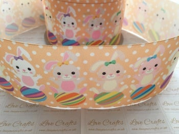 Spotty Easter Bunnies Grosgrain Ribbon
