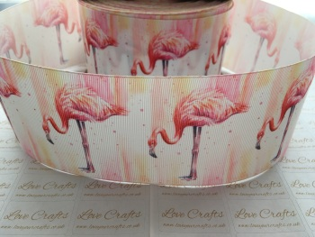 Watercolour Flamingo Grosgrain Ribbon