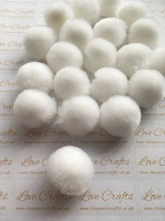 25mm White Pom Pom