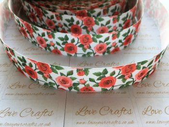 "7/8"" Red Roses Grosgrain Ribbon"