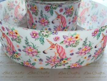 Unicorn Flowers Grosgrain Ribbon