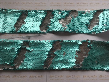 "3"" Mint/Silver Sequin Change Ribbon"
