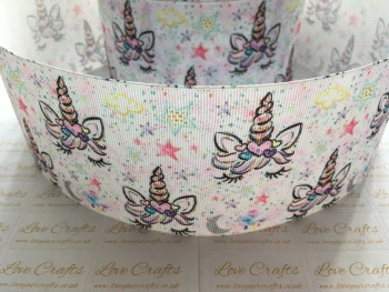 Double Sleepy Unicorn Grosgrain Ribbon