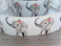 Floral Elephant Grosgrain Ribbon
