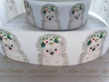 Floral Hedgehog Grosgrain Ribbon