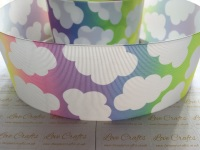 Rainbow Ombre Clouds Grosgrain Ribbon