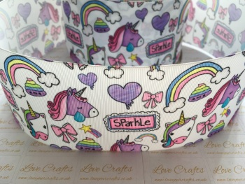 Sparkle Unicorn Grosgrain Ribbon