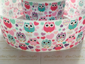 Sweetheart Owls Grosgrain Ribbon