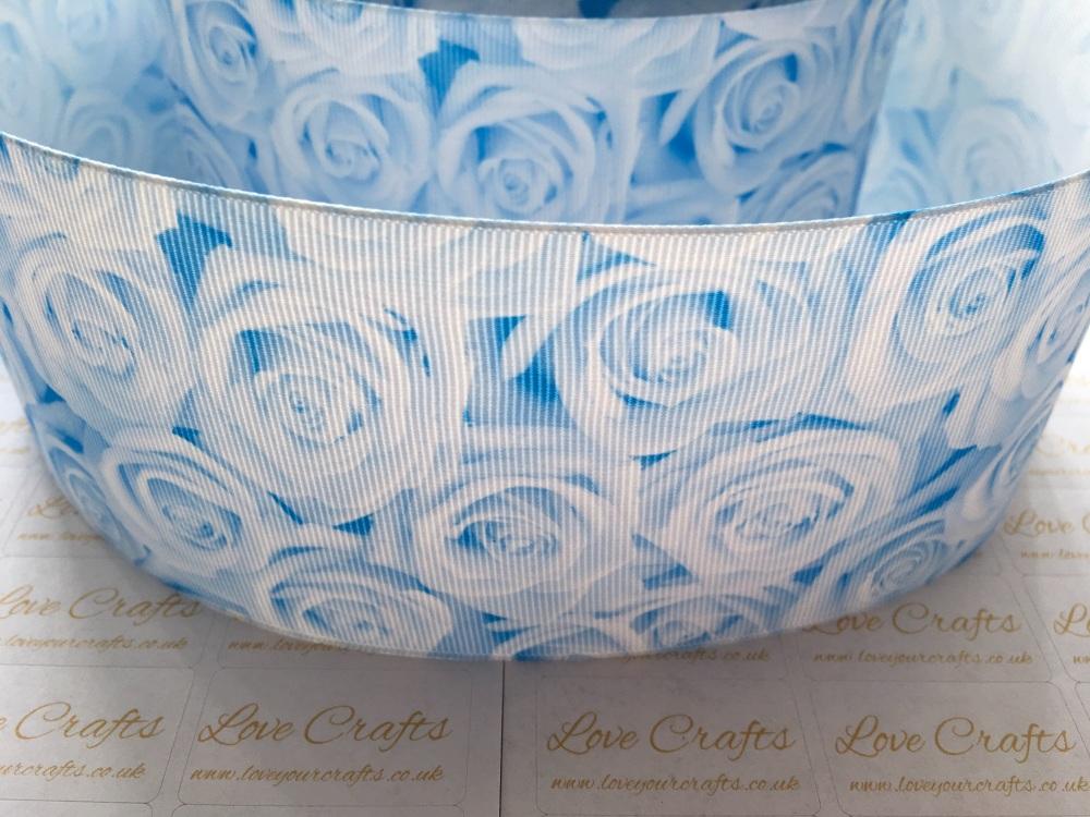 Blue Topaz Rose Grosgrain Ribbon