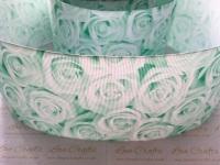 Pastel Green Rose Grosgrain Ribbon