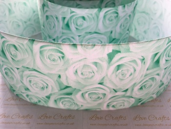 Pastel Green Rose Grosgrain Ribbon