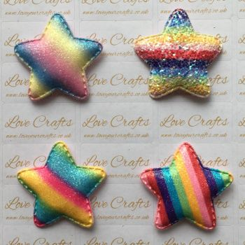 Rainbow Glitter Padded Star