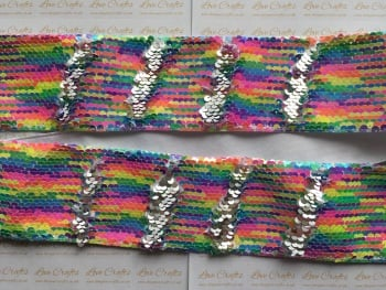 "3"" Neon Rainbow to Silver Sequin Change Ribbon"