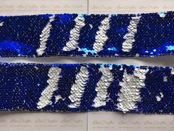 "3"" Royal Blue to White Sequin Change Ribbon"