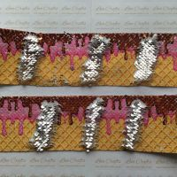 "3"" Ice Cream to Silver Sequin Change Ribbon"
