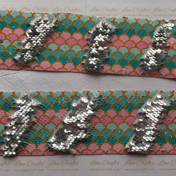 "3"" Mermaid to Silver Sequin Change Ribbon"