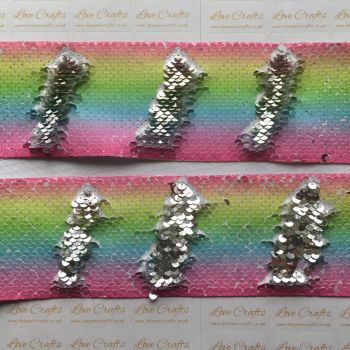 "3"" Pastel Rainbow to Silver Sequin Change Ribbon 2"