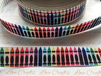 """1"""" Crayons Grosgrain Ribbon"""
