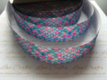 "1"" Mermaid Scale Grosgrain Ribbon"