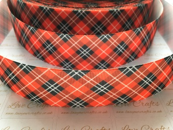 "1.5"" Red Tartan Grosgrain Ribbon"