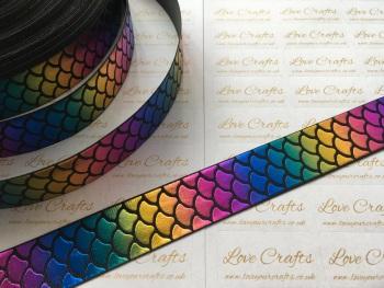 """1"""" Rainbow Laser Mermaid Scale on Black Grosgrain Ribbon"""