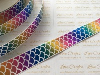 "1"" Rainbow Laser Mermaid Scale on White Grosgrain Ribbon"