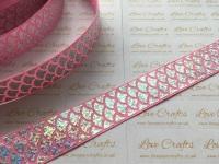 "1"" Silver Laser Mermaid Scale on Geranium Pink Grosgrain Ribbon"