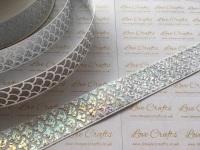 "1"" Silver Laser Mermaid Scale on White Grosgrain Ribbon"