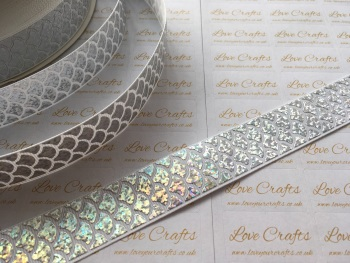 "1"" Silver Laser Mermaid Scale on White Grosgrain Ribbon"