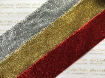 "2"" Metallic Glitter Velvet Ribbon"