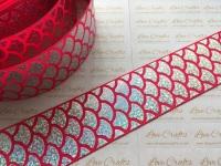 "2"" Silver Laser Mermaid Scale on Shocking Pink Grosgrain Ribbon"