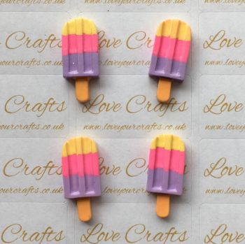 Yellow, Pink & Purple Ice Lolly Resin