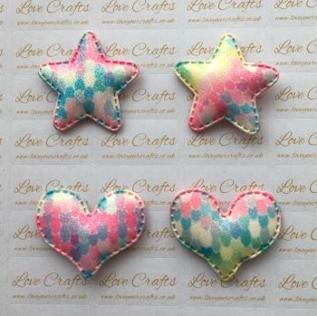 Mermaid Glitter Padded Star/Heart
