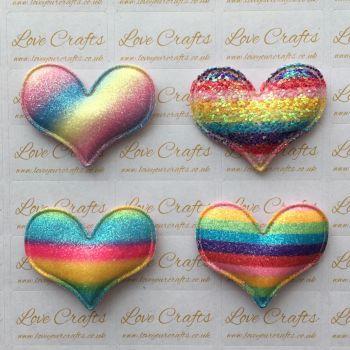 Rainbow Glitter Padded Heart