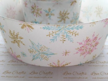 Pink, Blue & Gold Snowflakes Grosgrain Ribbon