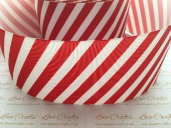 Red & White Thin Diagonal Stripe Grosgrain Ribbon