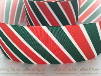 Red, White & Green Diagonal Stripe Grosgrain Ribbon