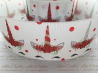 Sleepy Christmas Unicorn Grosgrain Ribbon