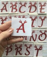LC Vinyl - Medium Red Glitter Antler Letter