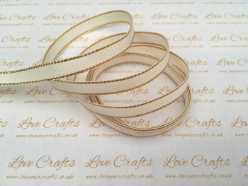 Antique White with Gold Edge Grosgrain Ribbon
