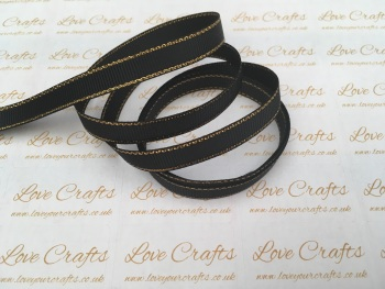 Black with Gold Edge Grosgrain Ribbon