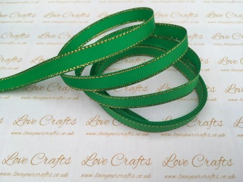 Emerald with Gold Edge Grosgrain Ribbon