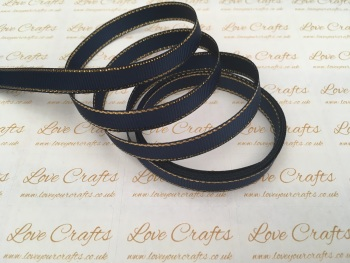 Navy with Gold Edge Grosgrain Ribbon