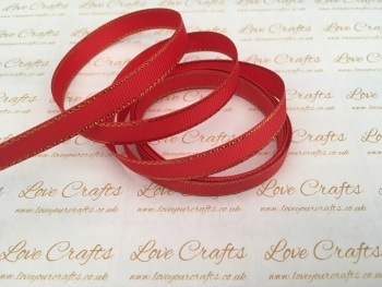 Red with Gold Edge Grosgrain Ribbon