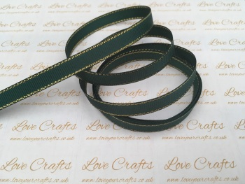 Spruce with Gold Edge Grosgrain Ribbon