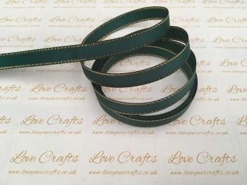 Teal with Gold Edge Grosgrain Ribbon