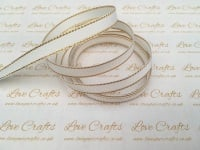 White with Gold Edge Grosgrain Ribbon