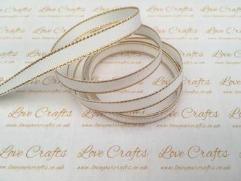 White with Gold Edge Grosgrain Ribbon