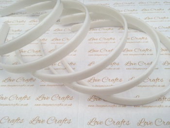 5x White Plastic Weaving Headbands 12mm