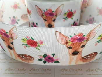 Floral Deer Grosgrain Ribbon